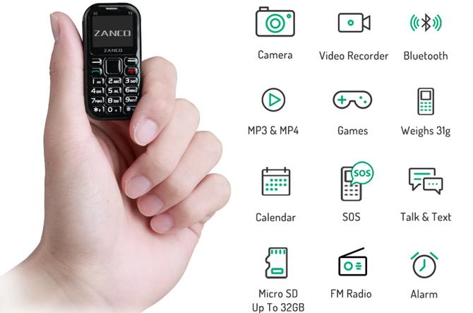 世界上最小的手机Tiny  T2发售,重量仅31克